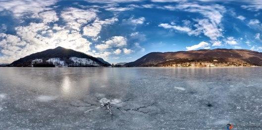 Primo tour virtuale lungo tuto il Lago di endine ghiacciato nel mese di Gennaio 2017